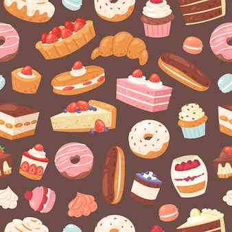 Sweet pastry seamless pattern. illustration of cakes, bakery and pastry. pastry dessert background with sweet cake, vanilla cream cupcake, caramel muffin, chocolates and donut.