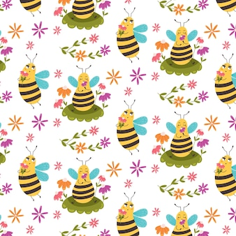 Sweet pattern bee sitting among flowers. childrens digital vector paper with yellow sugar insects