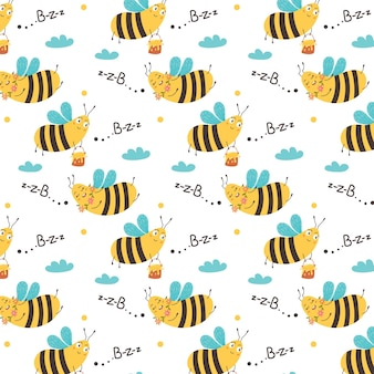 Sweet pattern flying bees are buzzing among the clouds. childrens digital vector paper with yellow sugar insects