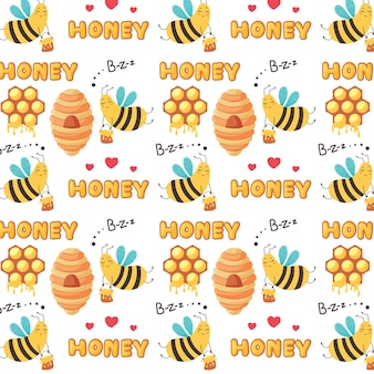 Sweet pattern flying worker bees fly to the hive. baby digital vector paper with yellow sugar honey products