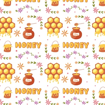 Sweet pattern honey pot and honeycomb. baby digital vector paper with yellow sugar honey products