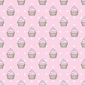 甘いパターン。ケーキとカップケーキのお祝いのためのシームレスな背景。