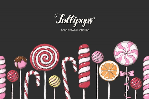 Sweet pattern with hand drawn red and pink lollipops. seamless background.