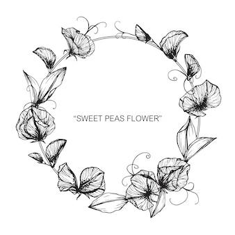 甘いピー花のフレームのイラストのイラスト