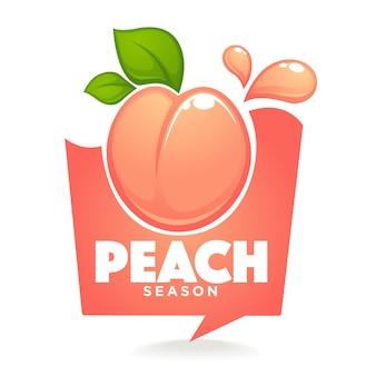 甘い桃の季節。ラベルまたはステッカーが吹き出しのように見える