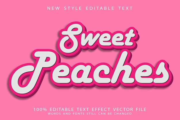 Sweet peaches editable text effect emboss vintage style