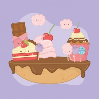 Sweet pie of chocolate cream with kawaii characters