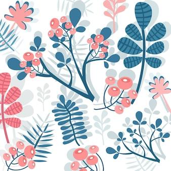 달콤한 분홍색과 파란색 꽃 패턴입니다.