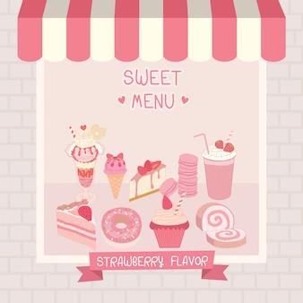 Сладкое розовое кафе