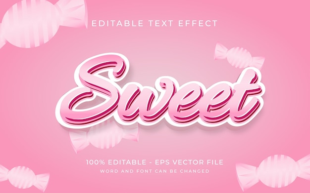 Sweet pink candy text effect style editable font text effect