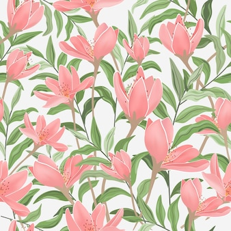 Sweet pink floral and green leaf seamless pattern.