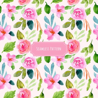 Sweet pink floral watercolor seamless pattern
