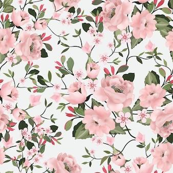 甘いピンクの花と緑の葉のシームレスなパターン。