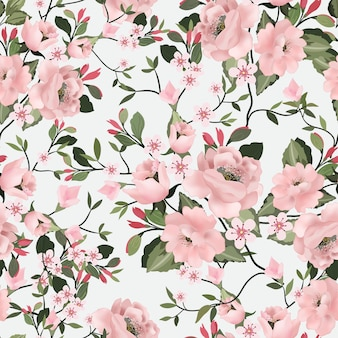 Sweet pink flower and green leaf seamless pattern.