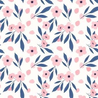 甘いピンクの花のシームレスパターン