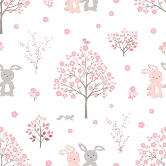 Sweet pink flowers blossom on springtime with cute rabbits seamless pattern