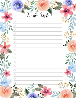 Sweet pink and soft purple blosslom floral watercolor to do list template