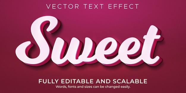 Сладкий розовый текстовый эффект, редактируемый свет и мягкий стиль текста