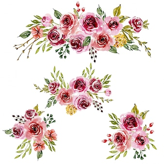 Sweet pink watercolor  floral arrangements for greeting card.