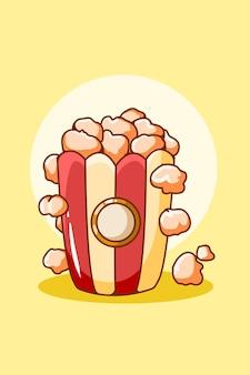 Sweet pop corn food cartoon illustration