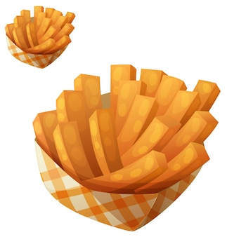Sweet potato fries in paper box vector icon isolated on white background