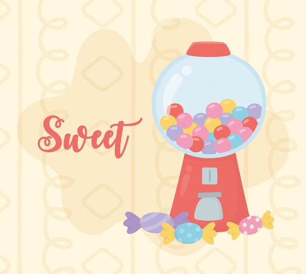 Sweet products bubble gum machine and candies