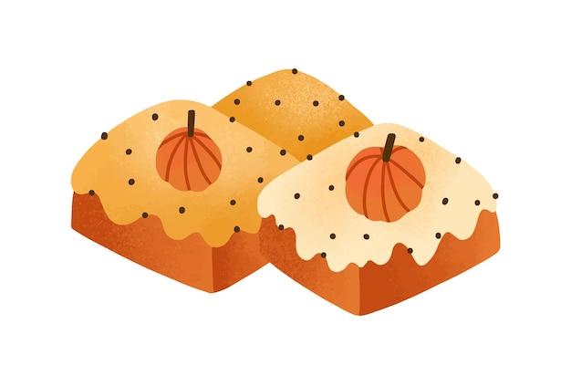 달콤한 호박 케이크, 파이 평면 벡터 일러스트 레이 션. 맛 있는 과자, 흰색 배경에 고립 베이킹. 베이커리 제품, 메뉴 디자인 요소입니다. 글레이즈와 작은 조롱박이 올려진 맛있는 브라우니.