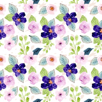 Sweet purple floral watercolor seamless pattern
