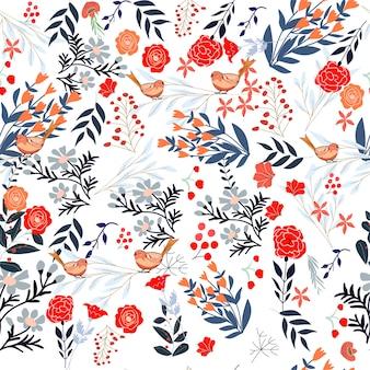 달콤한 레드 핑크와 블루 야생 꽃 프레임 완벽 한 패턴