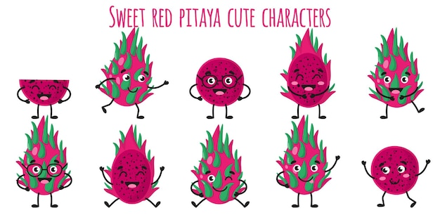 Sweet red pitaya fruit cute funny cheerful characters with different poses and emotions. natural vitamin antioxidant detox food collection. vector cartoon isolated illustration. children concept.