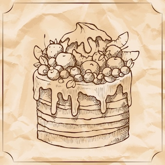 Sweet retro cake with fruit and berries. treat for the birthday. vector hand drawn illustration.