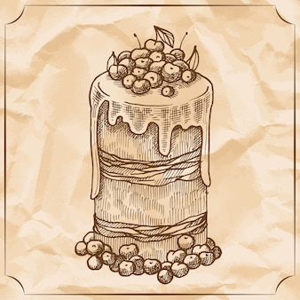 Sweet retro cake with fruit and berries. treat for the birthday.