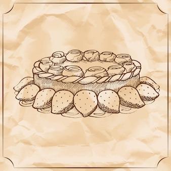 Сладкий пирог с взбитыми сливками и ягодами. относитесь ко дню рождения.