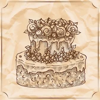 Sweet retro two-level delicious wedding cake