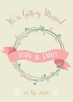 Sweet retro wedding invitation card