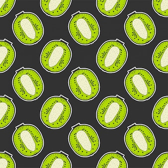 Sweet ripe kiwi seamless pattern