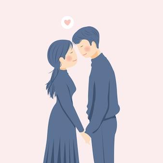 Sweet romantic couple character illustration in simple minimalist