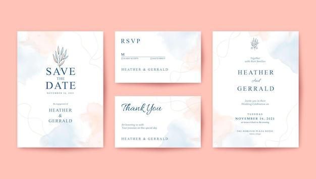 Sweet romantic minimalist wedding invitation template