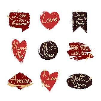 Sweet romantic valentine message set