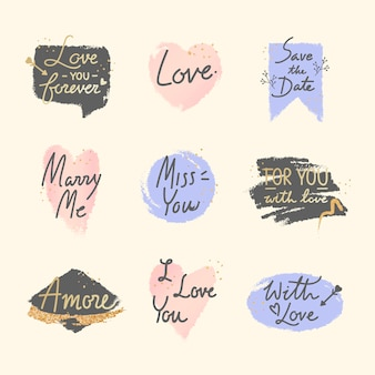 Sweet romantic valentine message set