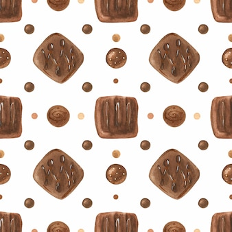 チョコレート菓子と甘いロマンチックな水彩シームレスパターン