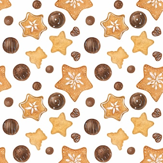 Sweet romantic watercolor seamless pattern with chocolate candies
