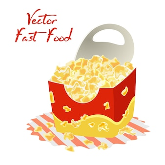 Sweet or salty popcorn in big paper cup on napkin. maize corns.