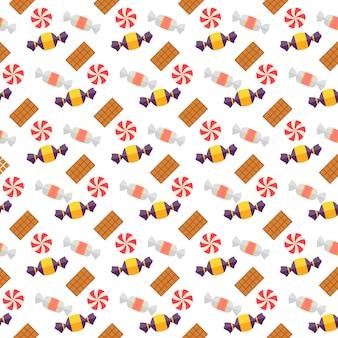 甘いスキャンディとクッキーのシームレスなパターンで、ゆでたシーツとタフィーがラッパーに散らばっています