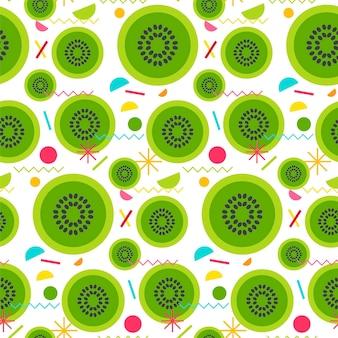 인쇄, 직물, 섬유, 벽지를 위한 맛있는 키위의 달콤한 매끄러운 패턴입니다. 벡터