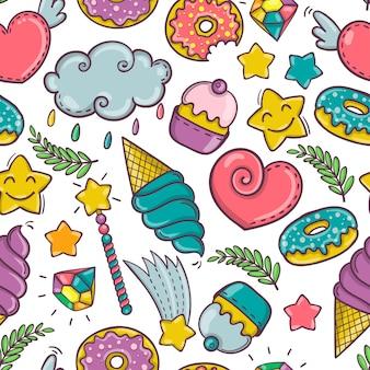Sweet seamless pattern on white background, vector illustration eps10
