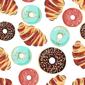 Sweet seamless pattern with croissant and donuts.
