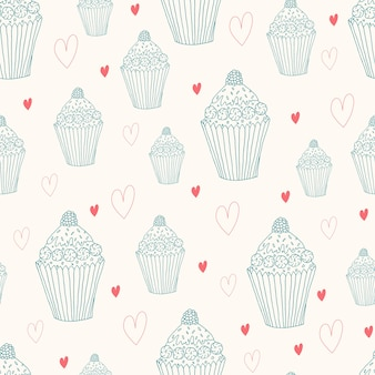 Sweet seamless pattern with cupcake and heart. doodle style hand drawn