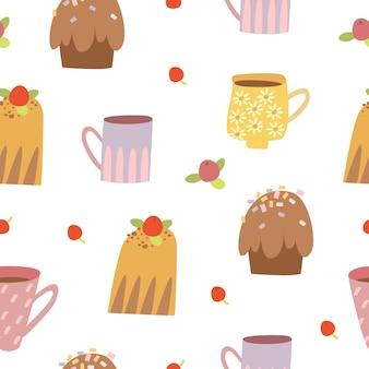 カップケーキと甘いシームレスパターン