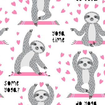 Sweet seamless pattern with cute sloths in asanas